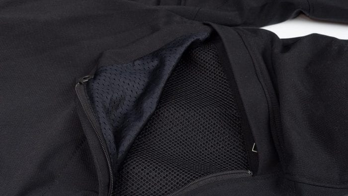 Leg vent open revealing the mesh material underneath