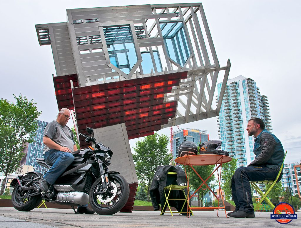 Greg and I with the LiveWire in downtown Calgary.