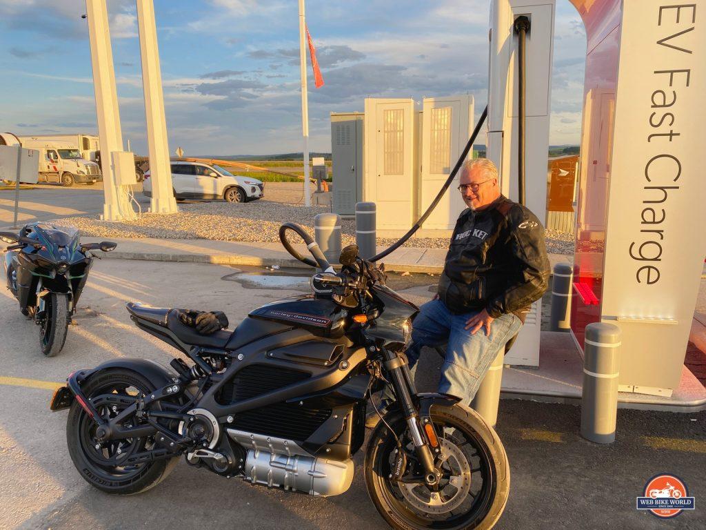 Greg fast charging the Harley Davidson LiveWire.