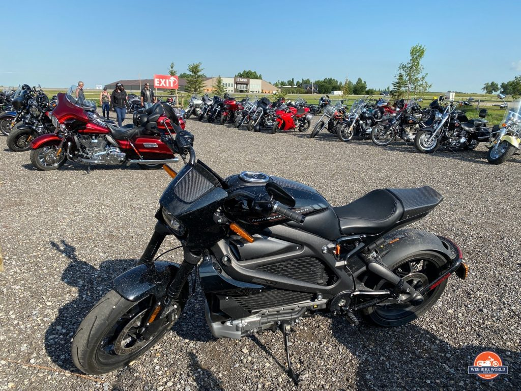 The Harley Davidson LiveWire at a bike night event.