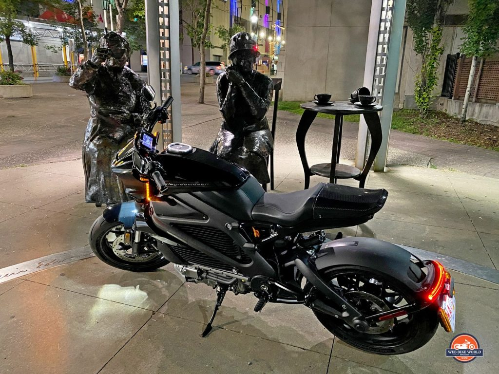 Night shot of the 2020 Harley Davidson Livewire.