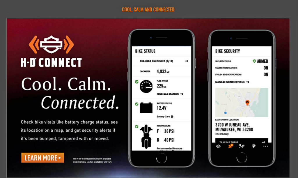 The HD Connected phone app.