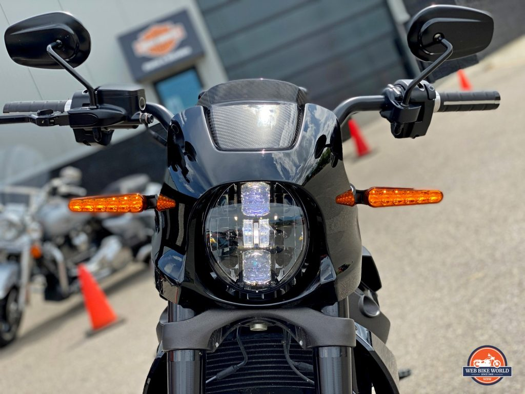 The Harley-Davidson LiveWire's headlight.