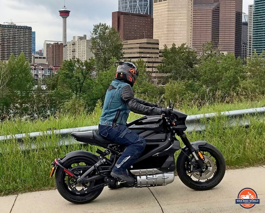 Me riding the Harley Livewire in Calgary, AB.