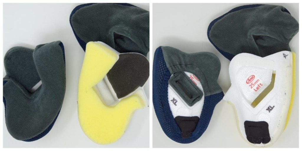 Removable cover on Arai XC helmet cheek pads