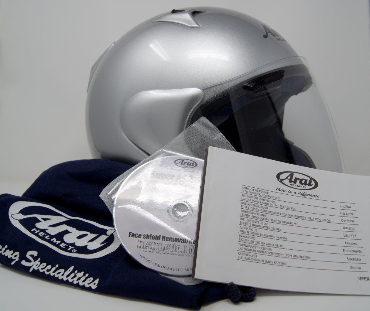 Box contents of Arai XC helmet