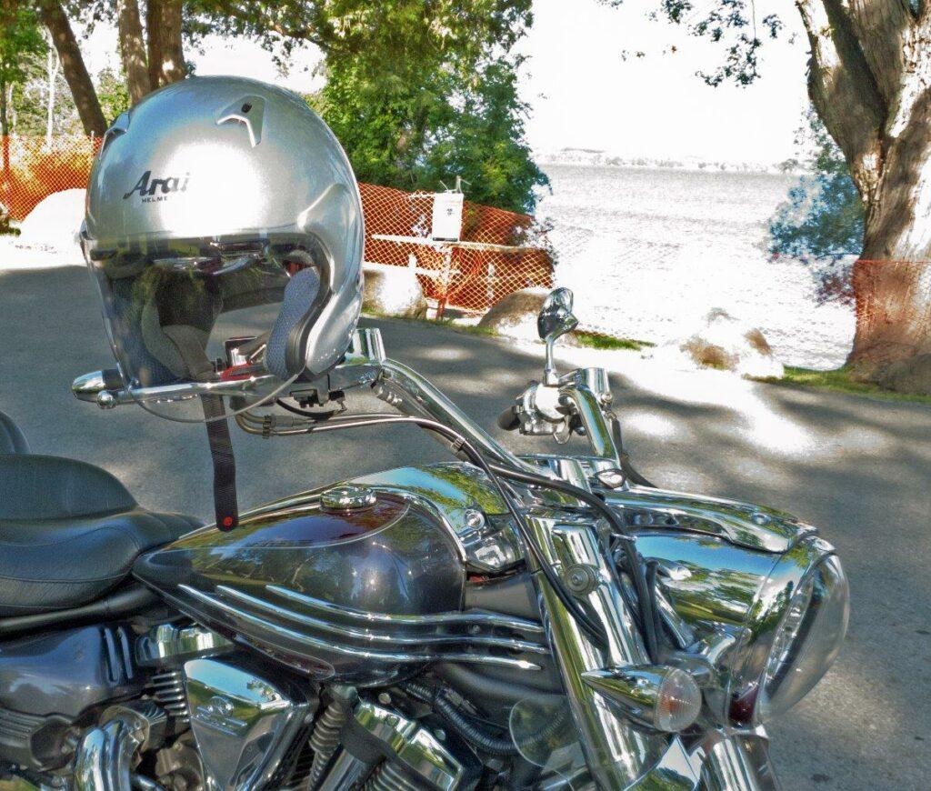Arai XC helmet on handlebars
