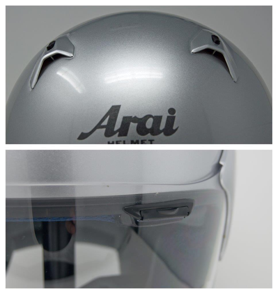 Top-mounted and brow vent on Arai XC helmet