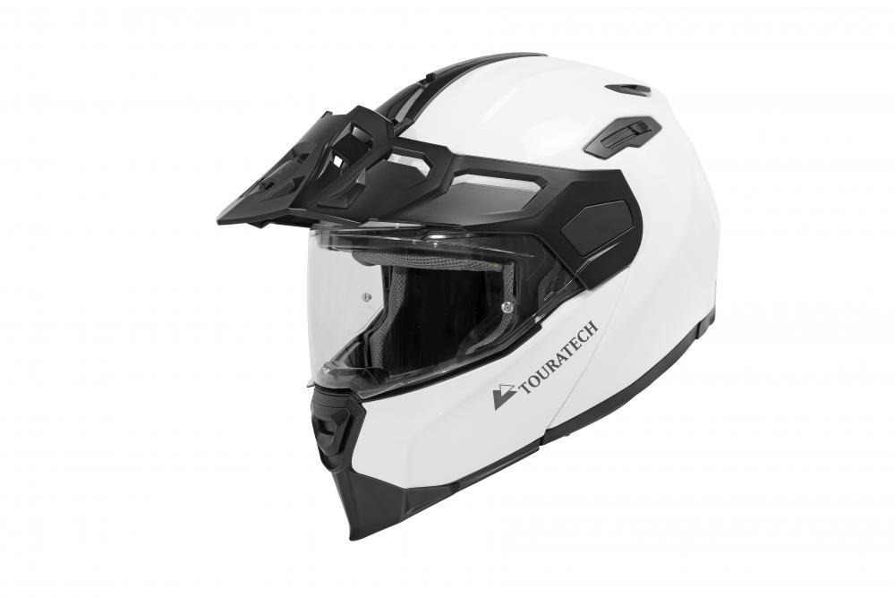Black and white Touratech Aventuro Traveller helmet.