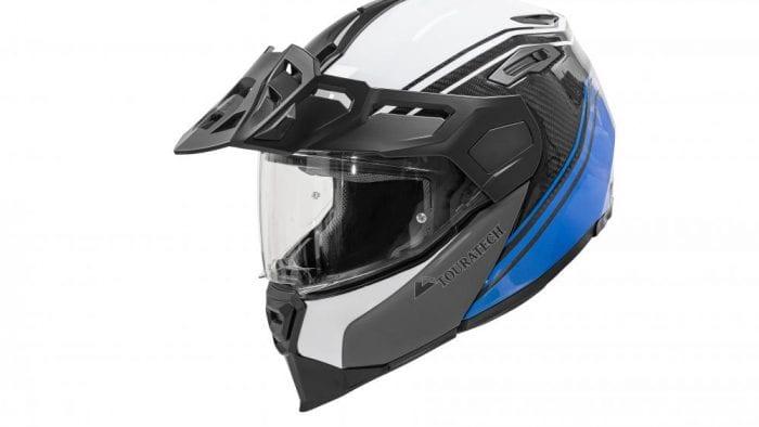 Black, white, and blue Touratech Aventuro Traveller helmet.