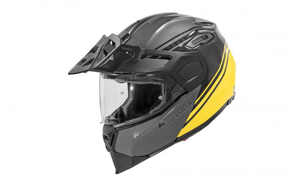Black and yellow Touratech Aventuro Traveller helmet.