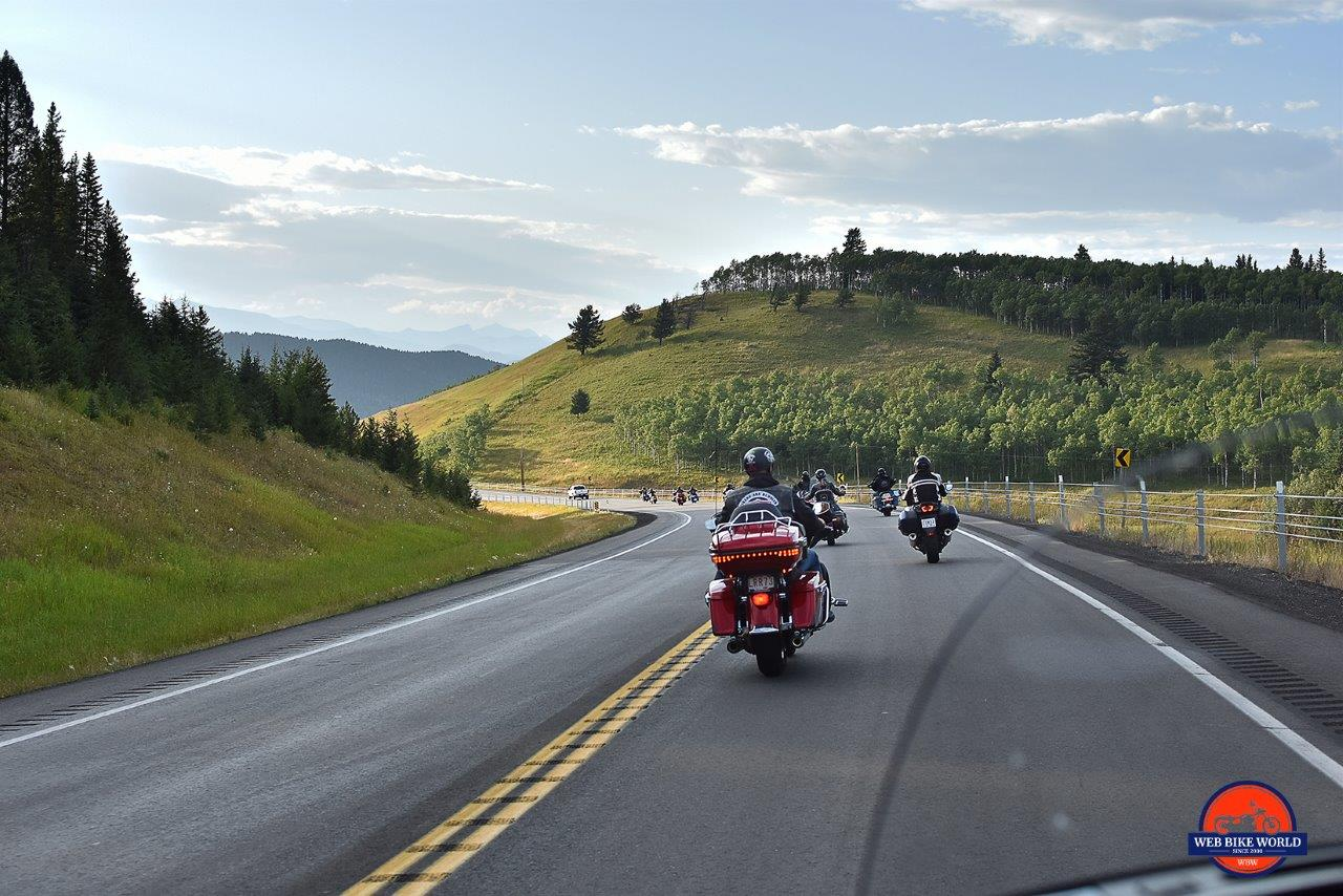 Motorcycles riding on Highway 22 near Longview, Alberta.