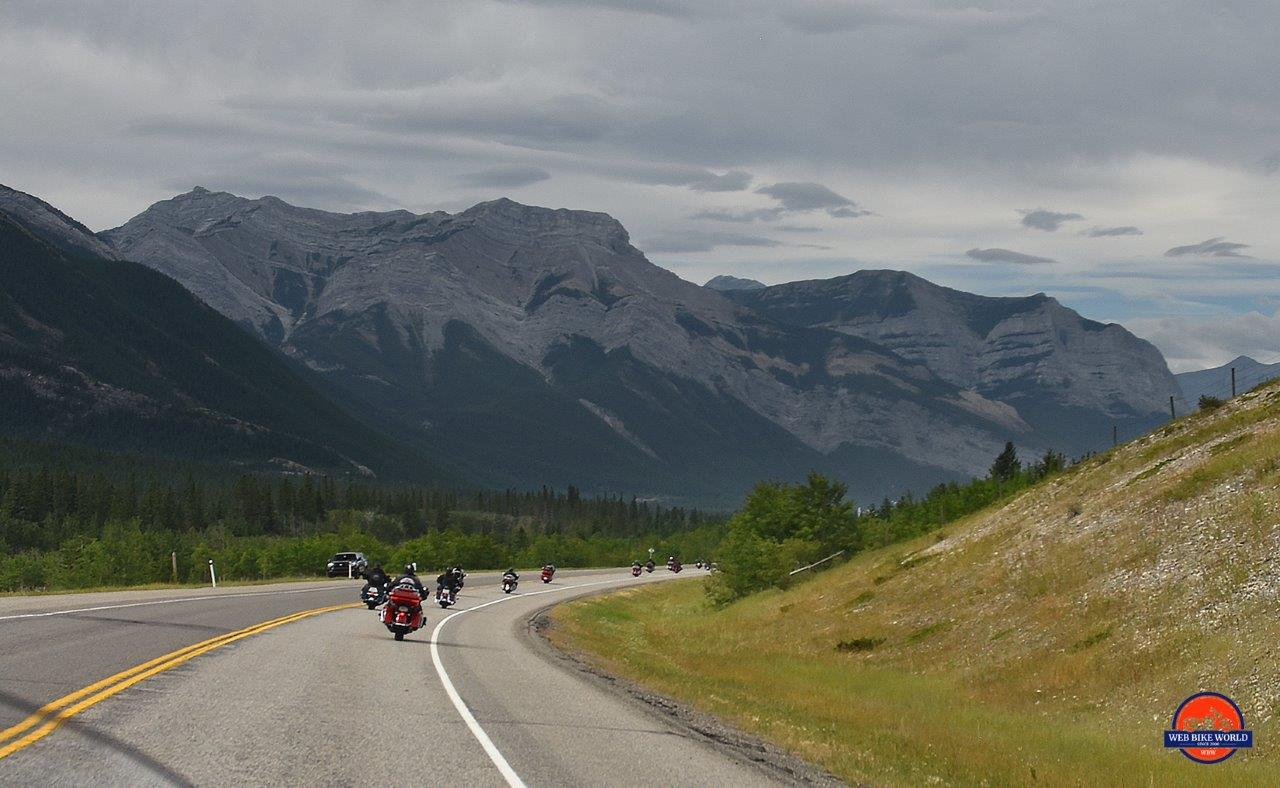 Highway riding in Alberta, Canada.