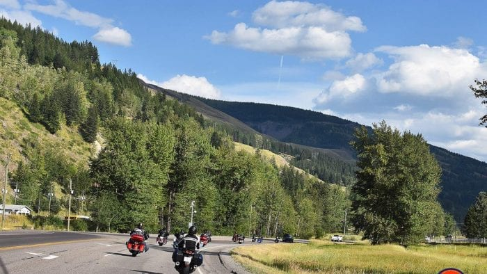 Motorcycles riding in British Columbia near Sparwood.