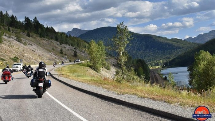 Motorcycles on the highway in Alberta, Canada.