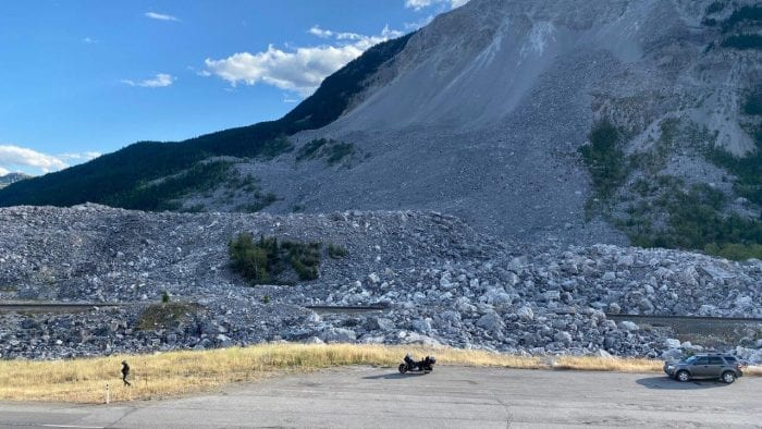Frank Slide British Columbia with Turtle Mountain in the background.