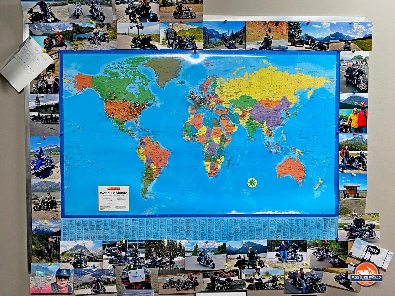 Calgary Harley's world map showing where visitors have come from.