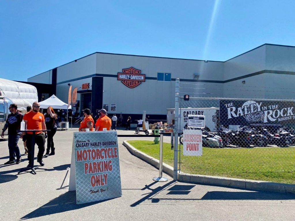 Calgary Harley Davidson during the Rally in the Rockies only allowed motorcycle parking in the lot.