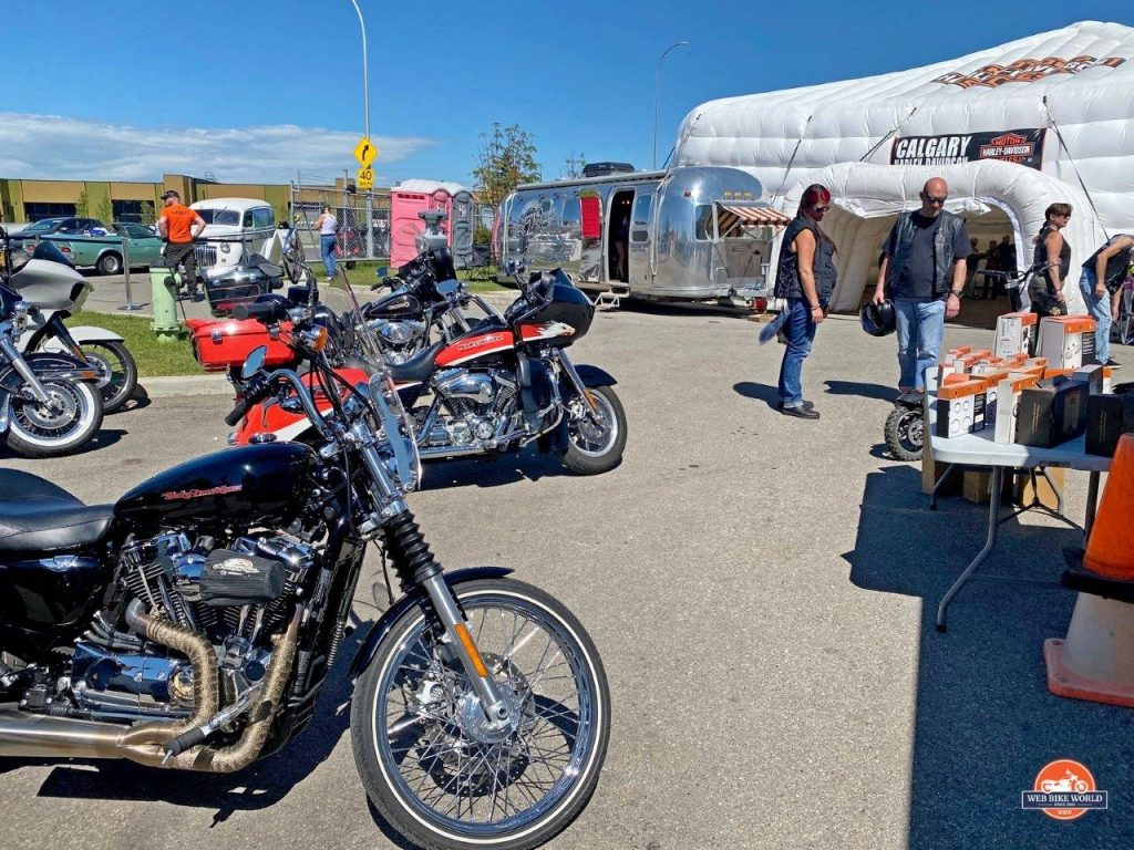 Motorcycles parked at the Calgary Harley Davidson parking lot.