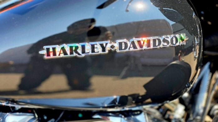 A Harley Davidson gas tank emblem.