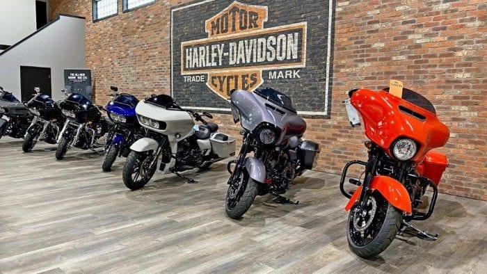 Harley motorcycles on display inside Calgary Harley Davidson.