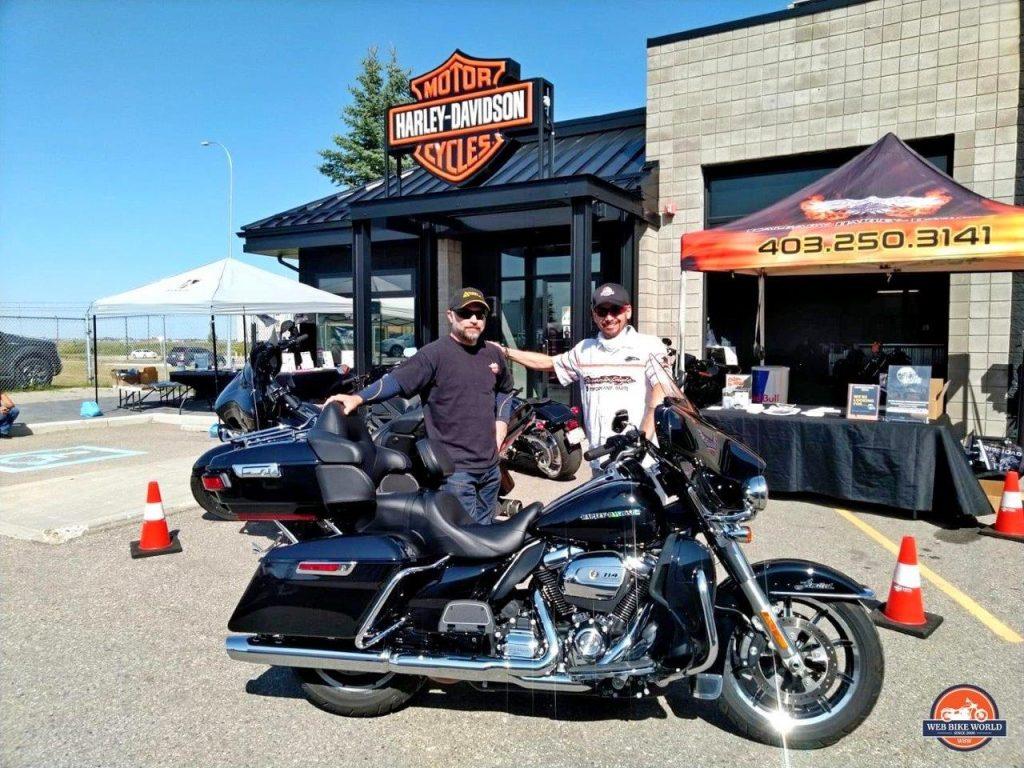 Jim Pruner and Paco Montes at Calgary Harley Davidson.