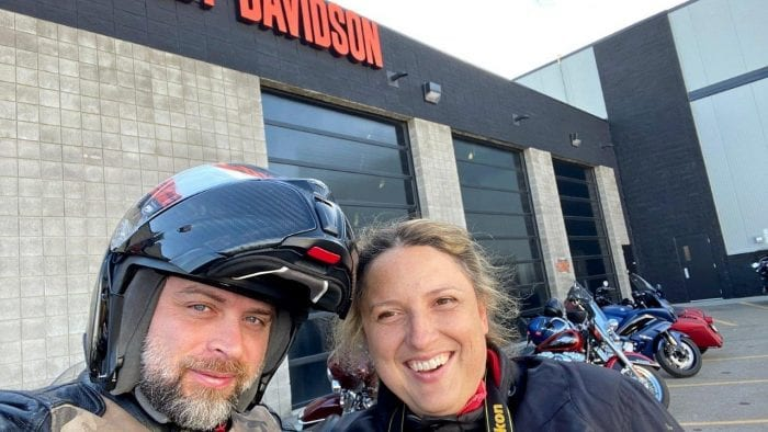 Jim and Jenna Pruner at Calgary Harley Davidson.