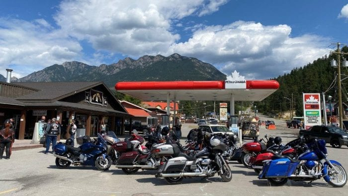 Motorcycles parked at a Petro Canada gas station in Radium, British Columbia.