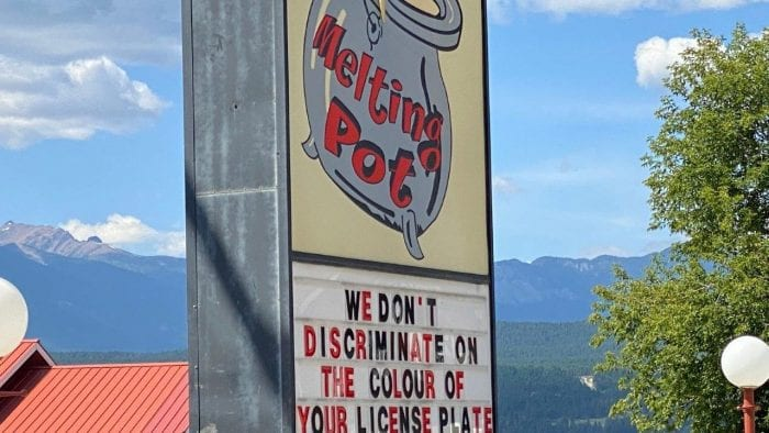 A welcome sign in Radium, British Columbia.