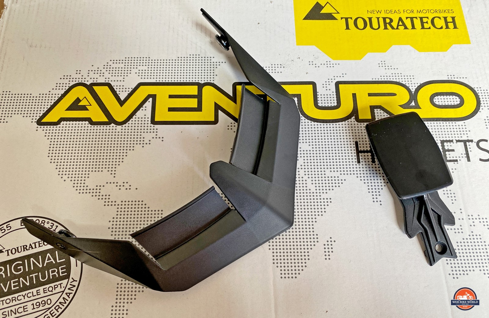 Front side of sun peak extension and GoPro mount for the Touratech Aventuro Traveller Carbon.