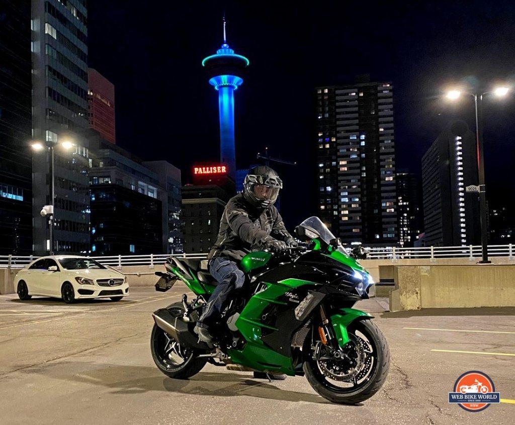 Rider on his Ninja H2SX SE.