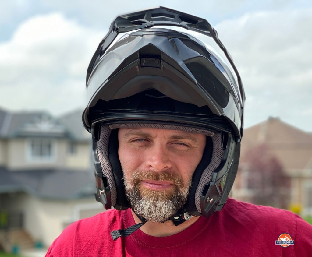 Front facing photo of Touratech Aventuro Traveller helmet.