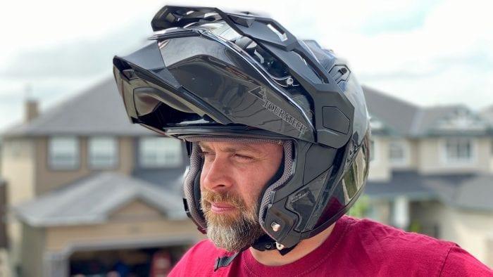 Rider wearing the Touratech Aventuro Traveller helmet.