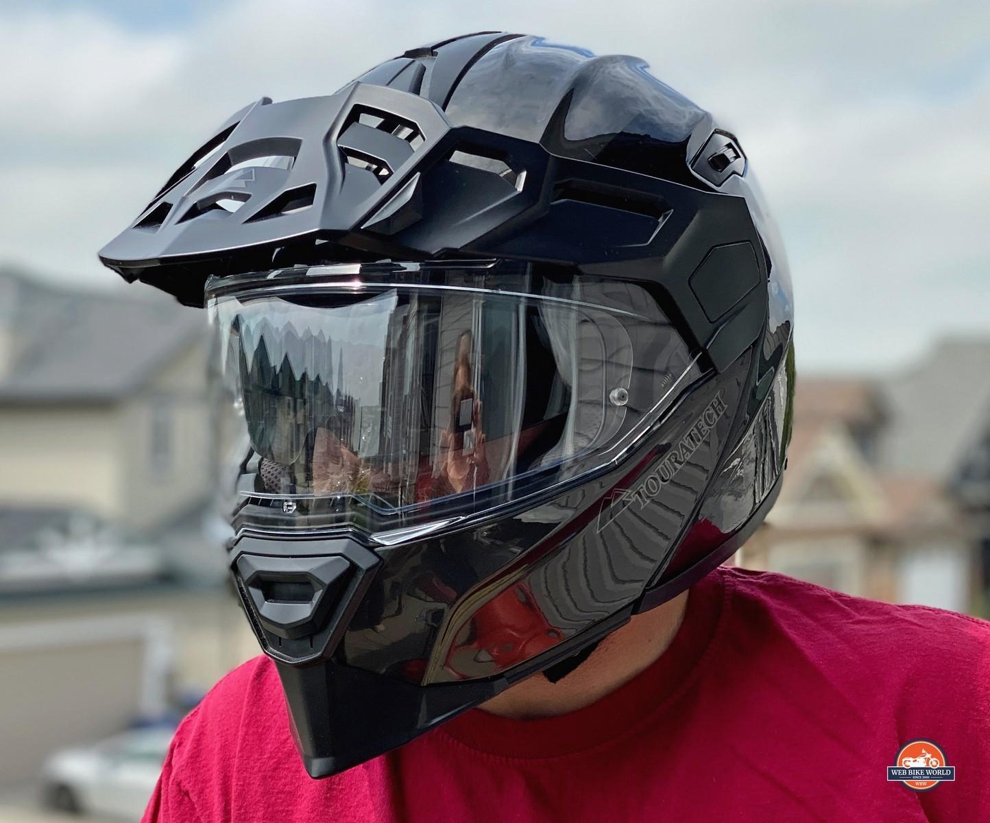 Touratech Aventuro Traveller Carbon helmet with closed visor.