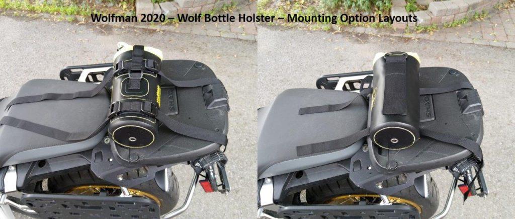 Wolfman Wolf Bottle on motorcycle