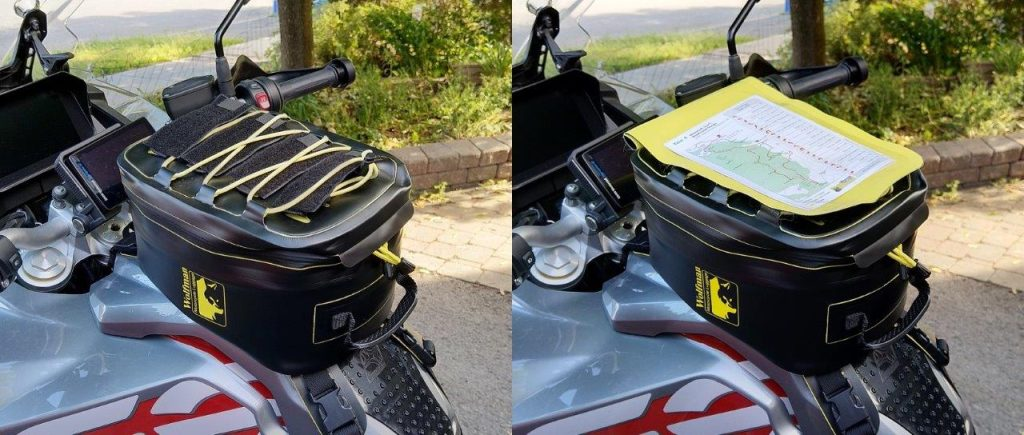 bungee shock cord and tool roll/document holder for Wolfman Blackhawk Motorcycle Tank Bag WP