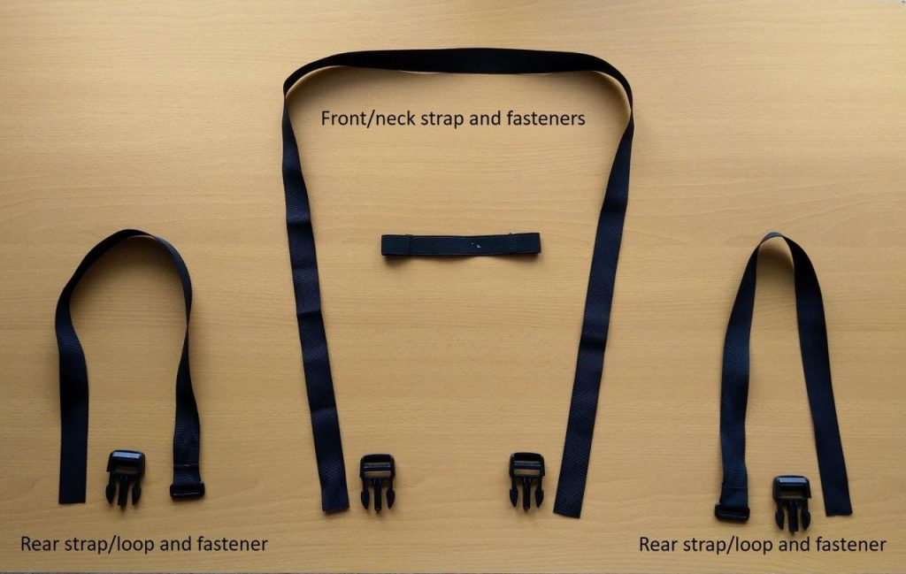 Various fasteners and straps for the Wolfman Blackhawk Motorcycle Tank Bag WP.