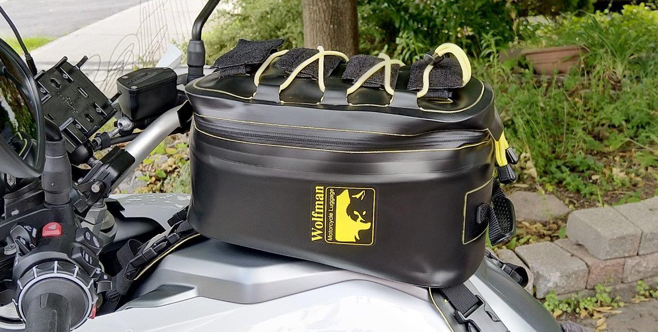 Wolfman Blackhawk Motorcycle Tank Bag WP on motorcycle