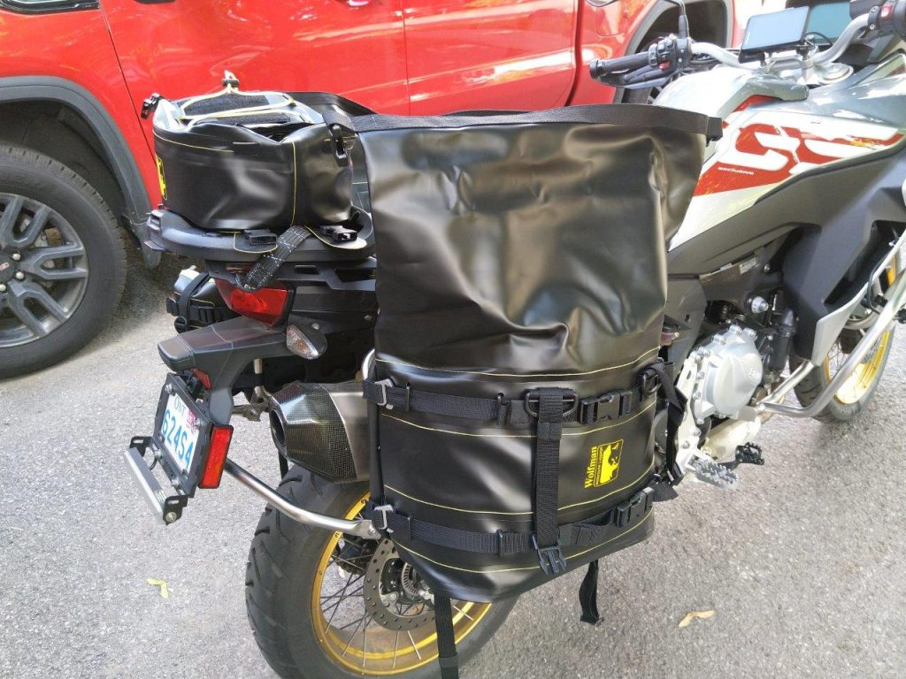 Wolfman Expedition Saddle Bag mounted on motorcycle