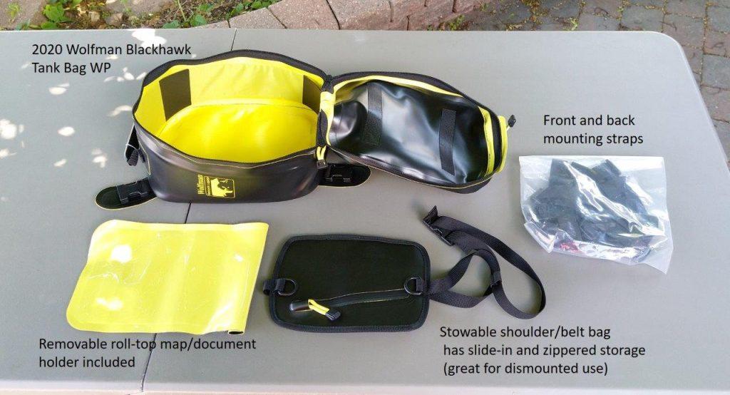Contents of Wolfman Blackhawk Tank Bag WP