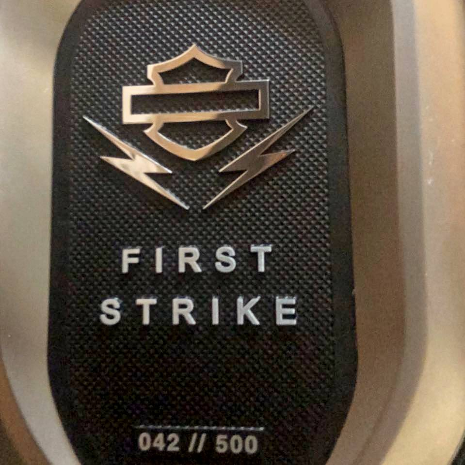 Harley LiveWire First Strike badge that comes on the first 500 produced bikes.