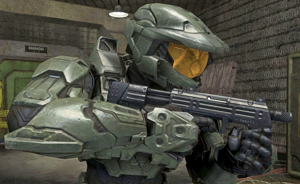 Photo of the Master Chief from the Halo video game.