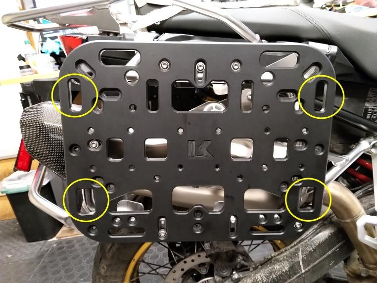G-hook mounting points on Kriega OS-platform kit