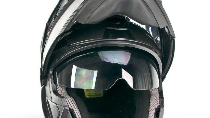 The integrated sun visor on the Touratech Aventuro Traveller Carbon.