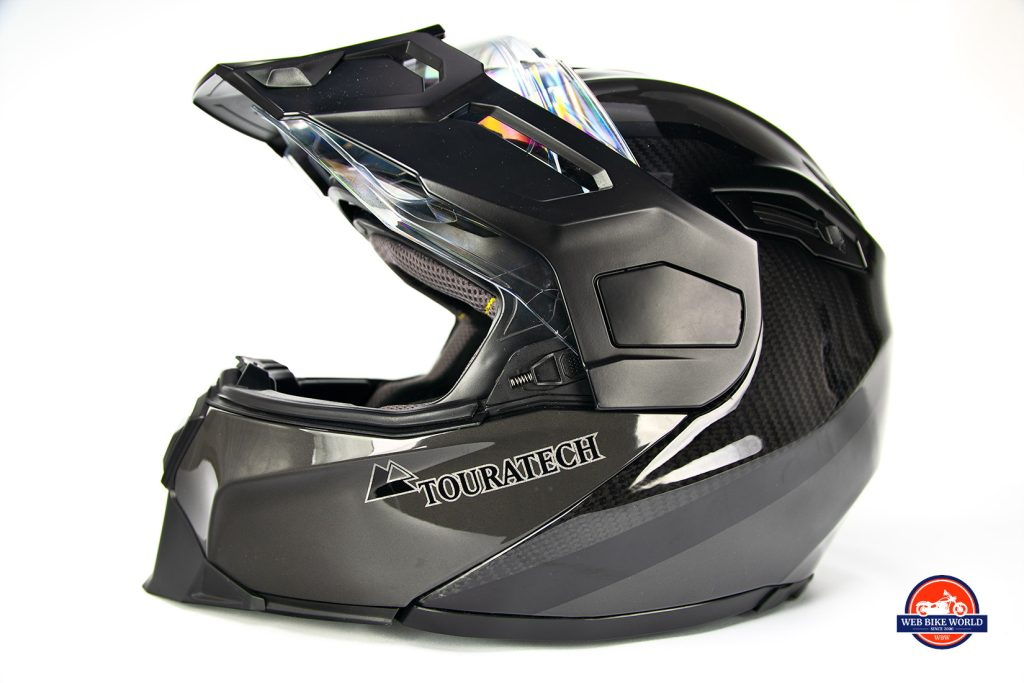 Side view of the visor on the Touratech Aventuro Traveller Carbon.