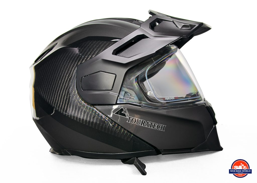 Side view of the Touratech Aventuro Traveller Carbon helmet.