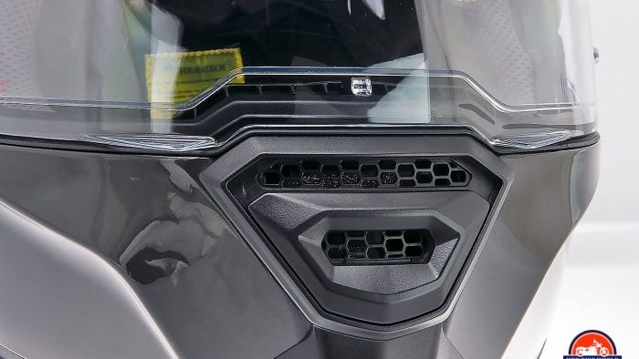 The open chinbar vent on the Touratech Aventuro Traveller Carbon