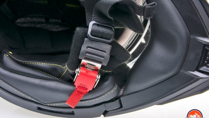 The micrometric chinstrap on Touratech Aventuro Traveller Carbon.