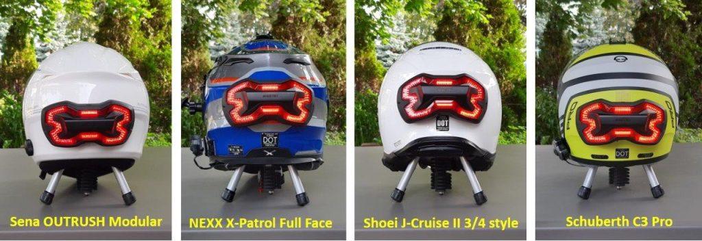 Brake Free Wireless Helmet Light mounted on various helmets