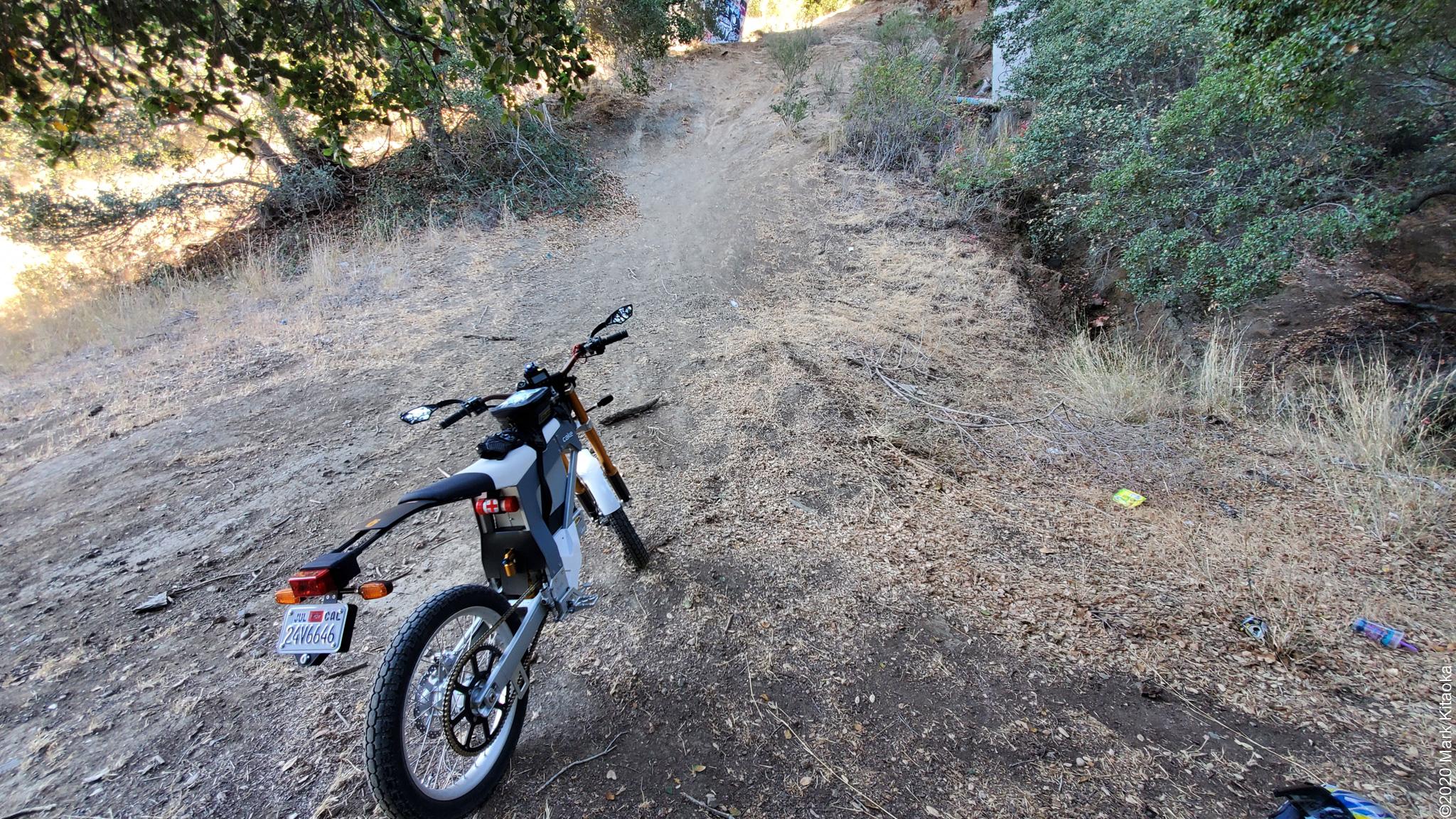 Kalk motorcycle on dirt path